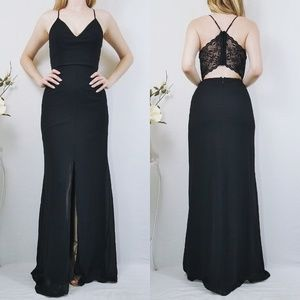 Story of a Starry Night Black Backless Lace Maxi